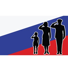 Russia soldier family salute vector