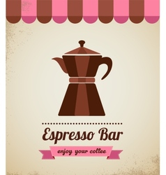 Espresso bar vinatge poster with makineta vector