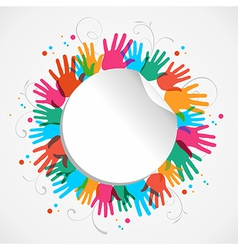 Color hand print circle vector