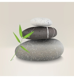 Stones with bamboo leaf vector