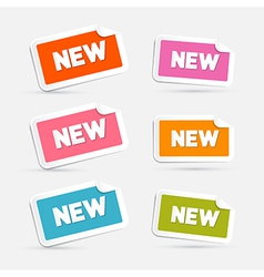 Colorful stickers with new title isolated on grey vector