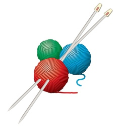 Yarn balls and needles vector