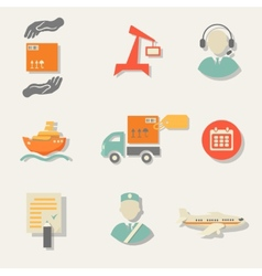 Warehouse transportation and delivery icons flat vector