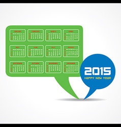Calendar of 2015 with message bubble design vector