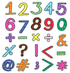 Colourful numbers and mathematical operations vector