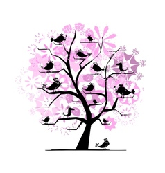 Funny tree with singing birds for your design vector