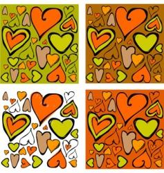 Retro hearts background vector