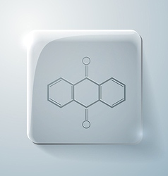 Anthraquinone glass square icon with highlights vector
