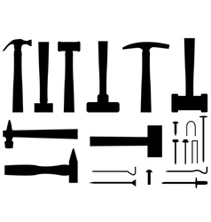 Hammers and nails vector