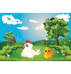Hen on lawn vector