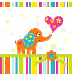 Scrapbook elephant greeting card vector