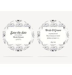 Wedding invitation cards with grey flowers vector