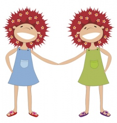 Sisters holding hands vector