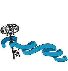 Old key and ribbon vector