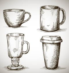 Set of coffe mugs drawing vector