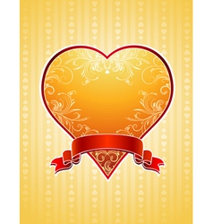 Lovely golden valentine heart with red ribbon vector
