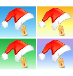 Red christmas hats with price badge vector