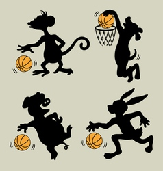 Animal playing basketball silhouettes vector
