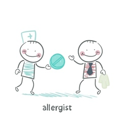 Allergist gives the patient a pill vector