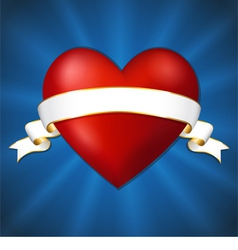 Heart with a ribbon on a dark blue background vector
