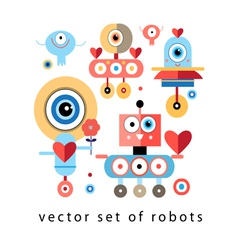 Set of funny robots lovers vector