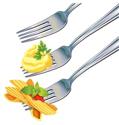 Pasta and mashed potatoes on fork vector