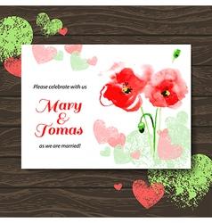 Wedding invitation card with watercolor poppy vector