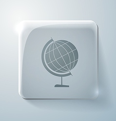 Globe glass square icon with highlights vector