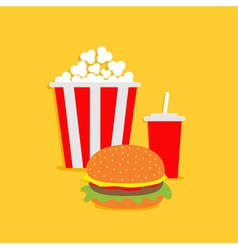 Popcorn hamburger soda with straw cinema icon vector