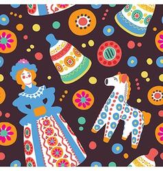 Russian souvenir dymkovo toys seamless pattern vector