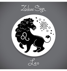 Leo zodiac sign of horoscope circle emblem in vector