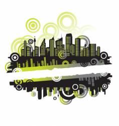 Cityscape silhouette frame vector