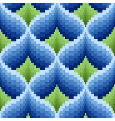 Blue and green ornamental seamless pattern vector