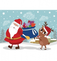 Santa and deer with presents vector