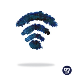Oil painted wireless network symbol vector