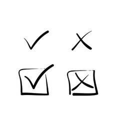 Yes no tick cross box signs vector