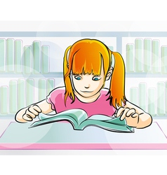 Young girl reading a book vector