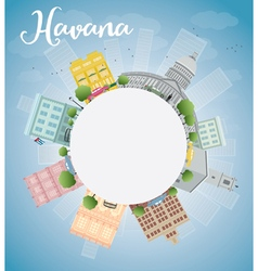 Havana skyline with color building vector