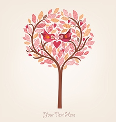 Pink romantic background with birds in love vector