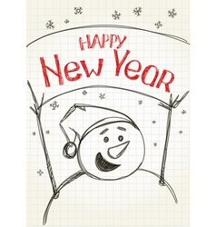 Happy new year from snowman vector
