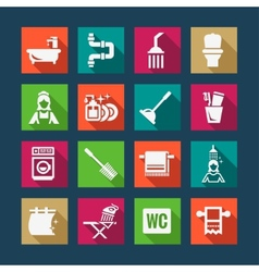 Flat bathroom icons vector
