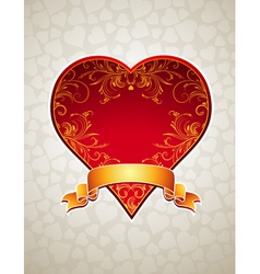 Lovely red heart with golden ribbon vector