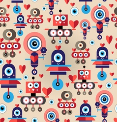 Pattern amusing lovers robots vector