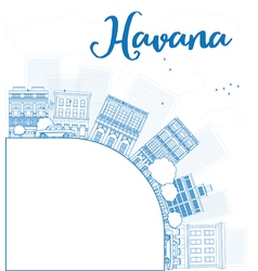 Outline havana skyline with blue building vector