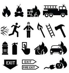 Fire fighters icons vector