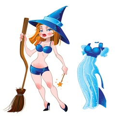 Nude sexy witch and blue dress vector