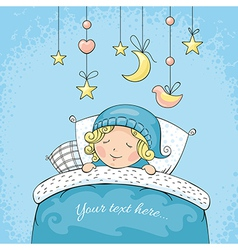 Adorable sleeping child vector