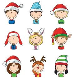 Cristmas children avatars vector