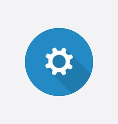 Settings flat blue simple icon with long shadow vector