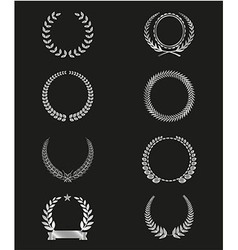 Silhouettelaurel wreaths set vector